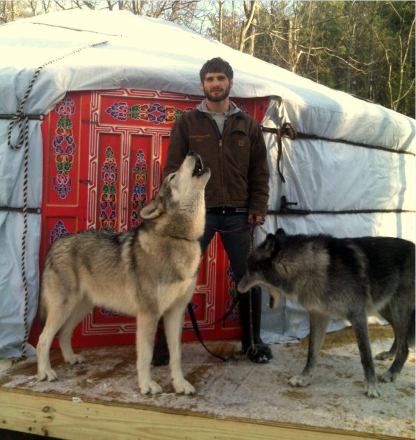 Alex with Cree and Zeebie at a new yurt